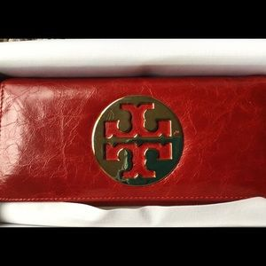 Brand new in the box TORY BURCH red leather wallet
